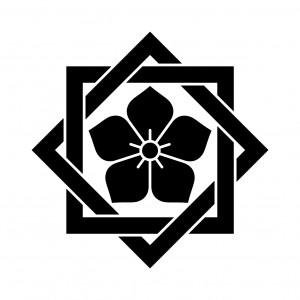 組み合わせ角に桔梗紋